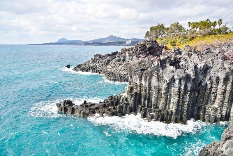 Basaltic kolumnowy złącza wybrzeże obraz royalty free