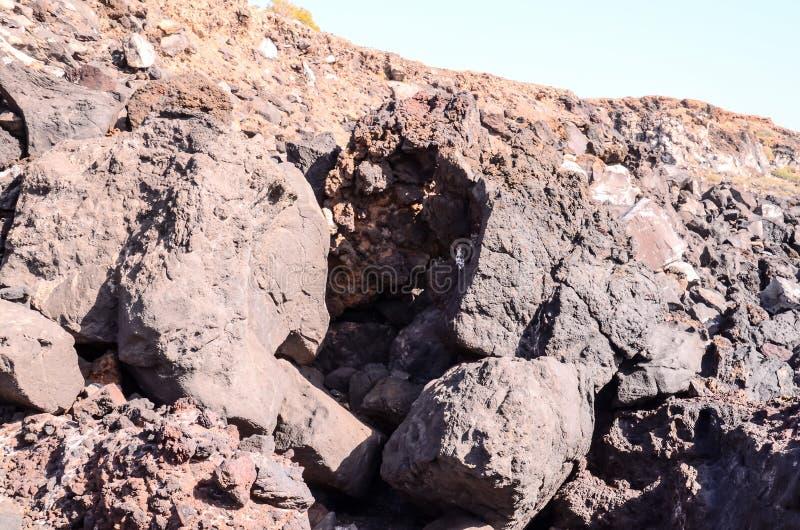 Basaltic Lava Formation. Near the Ocean Coast stock photo