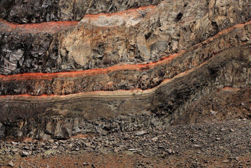 The basaltic strata from Hengifoss Canyon, near the Hengifoss Waterfall royalty free stock image