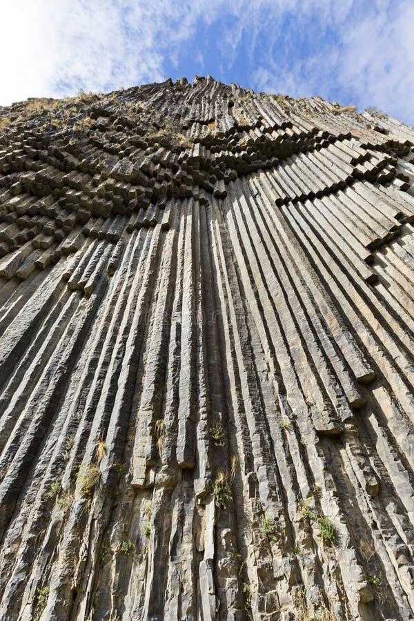Basaltkolommen als Symfonie van de Stenen, in de Vallei van Garni, Armenië worden bekend dat stock foto