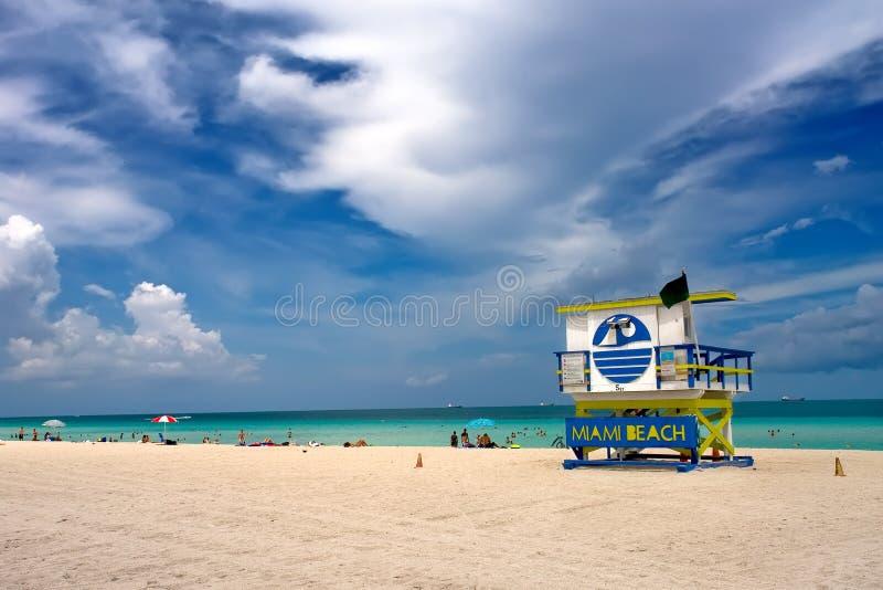 Basamento del bagnino, spiaggia del sud Miami, Florida fotografia stock libera da diritti