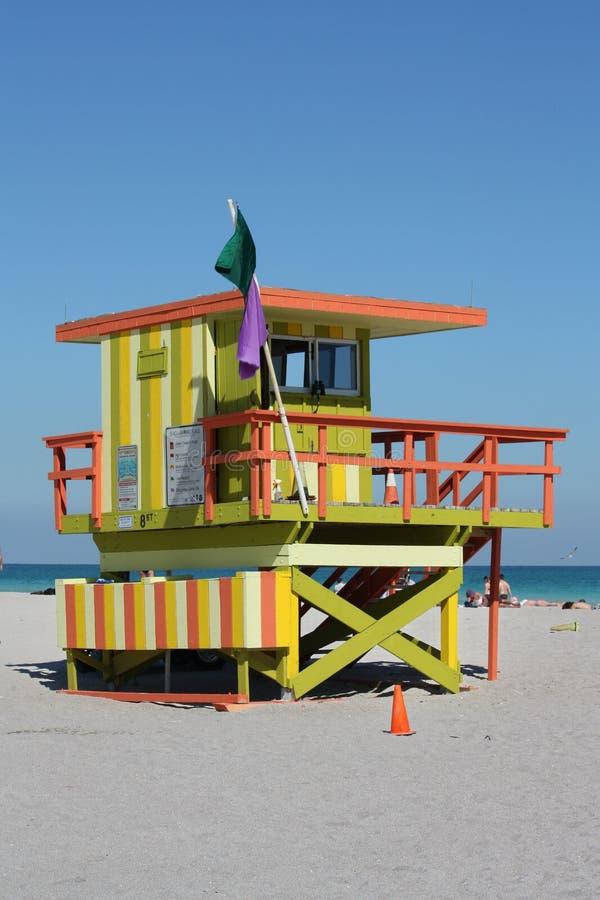 Basamento del sud del bagnino di Miami della spiaggia fotografia stock libera da diritti