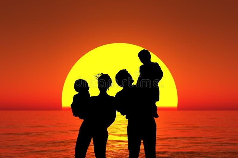 Basamento della famiglia della siluetta sulla spiaggia di tramonto, collage immagini stock libere da diritti