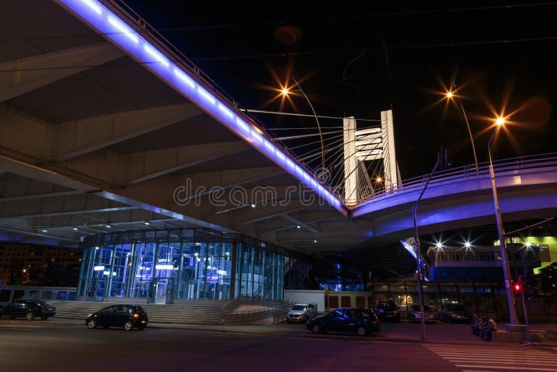 Basarab Bridge Illuminated In The Night Editorial Photo