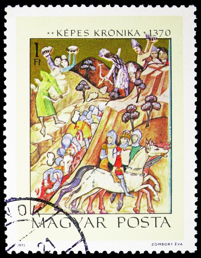 Basarabs seger över konungen Karoly Robert, illustrationer från den Kepes Kronika serien, circa 1971 royaltyfri fotografi