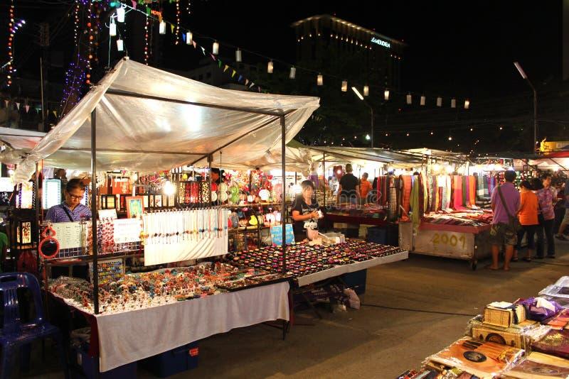 basarChiang Mai natt thailand arkivbild