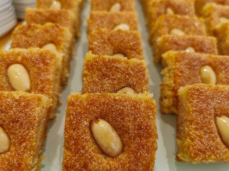 Basbousa Harissa Hareesa- homemade arabic egyptian and lebanese dessert eid ramadan cookies royalty free stock image