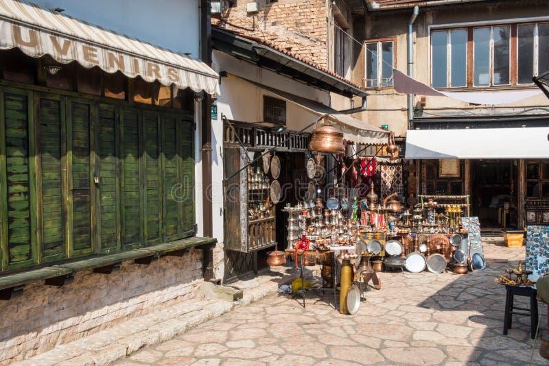 """Bascarsija †""""den gamla basaren i Sarajevo Bosnien och Hercegovina på Juli 12 2017 royaltyfria foton"""