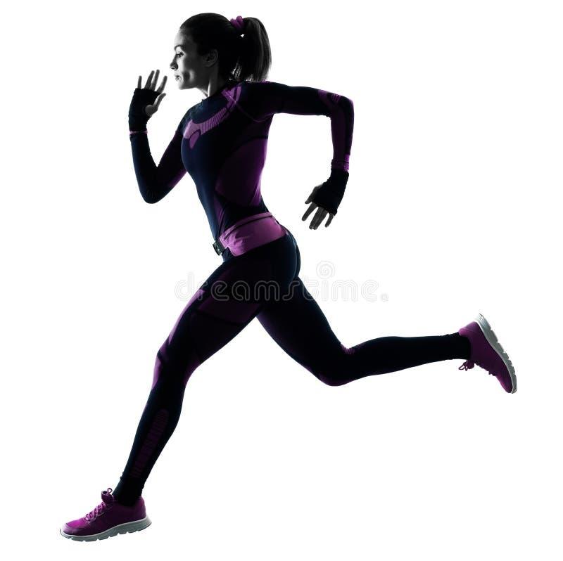 Basculador corriente del corredor de la mujer que activa la sombra aislada de la silueta fotos de archivo