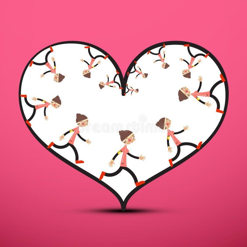 Basculador dentro del corazón en fondo rosado stock de ilustración