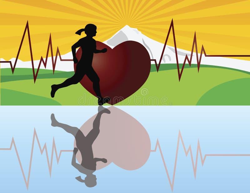 Basculador femenino con la ilustración del latido del corazón libre illustration