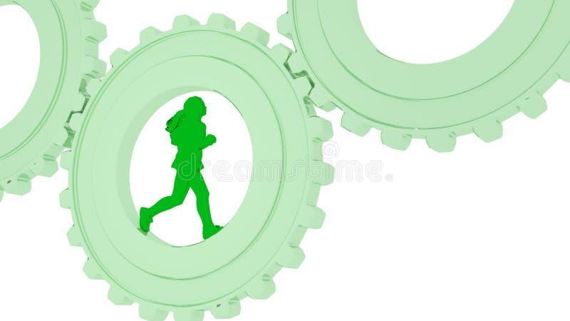 Basculador femenino que corre en un engranaje verde en blanco stock de ilustración