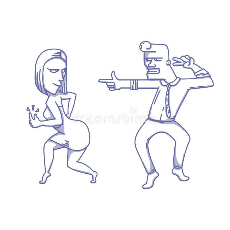 Basculage de deux danseurs illustration libre de droits