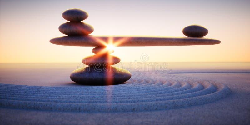 Bascule des cailloux dans le sable au lever de soleil ou au coucher du soleil illustration de vecteur