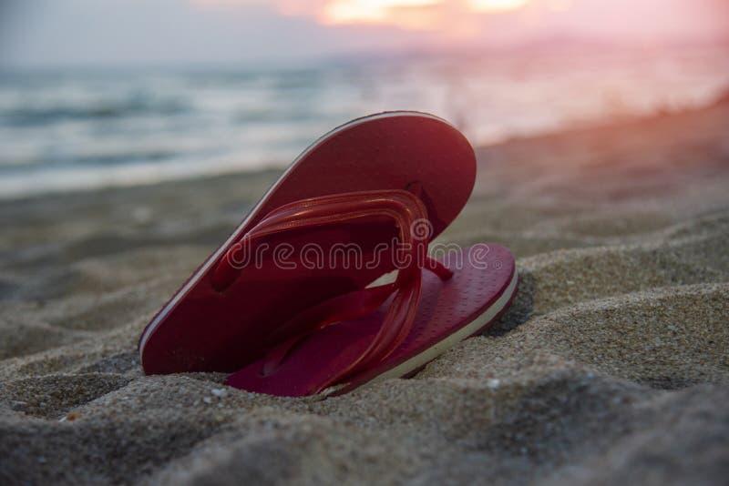 bascules électroniques sur la plage avec le fond de mer d'océan de coucher du soleil de plage sablonneuse photo libre de droits