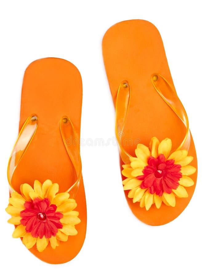 Bascules oranges avec des fleurs photo stock