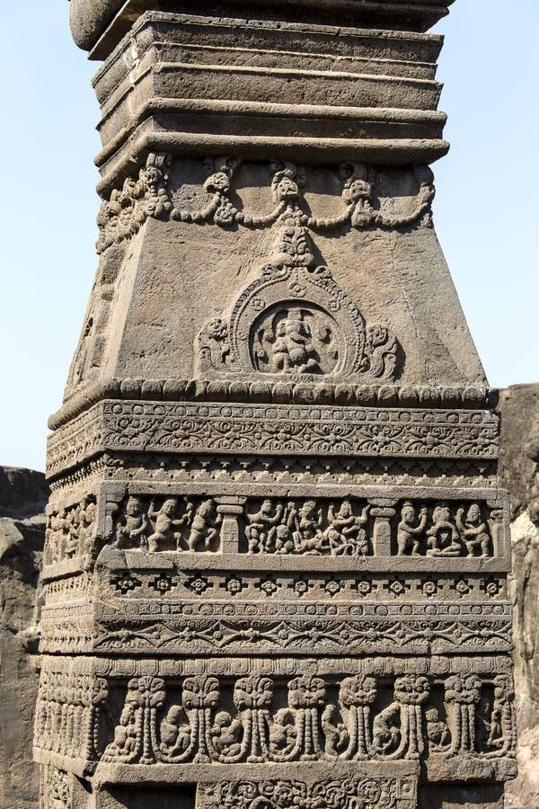 Basculez le fond de texture de découpages d'Ellora Caves dans Aurangabad, Inde Un site de patrimoine mondial de l'UNESCO dans le  photographie stock