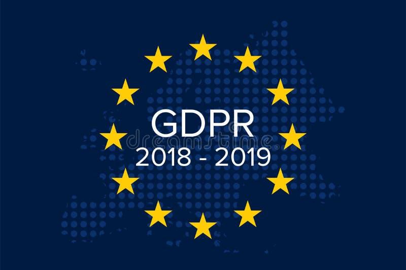 General Data Protection Regulation GDPR 2018-2019, 1 year later. Illustration vector royalty free illustration