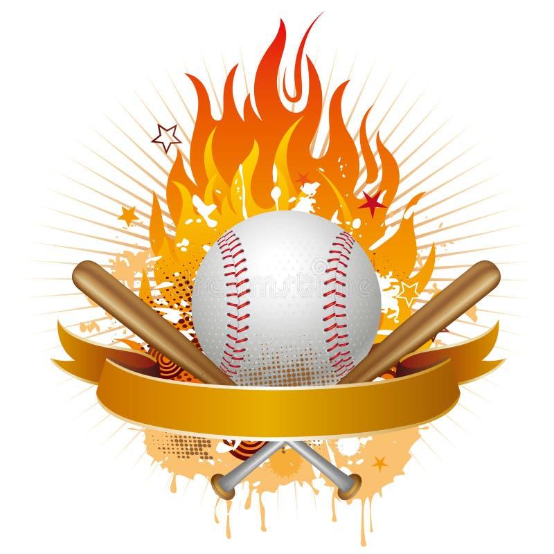 base-ball avec des flammes illustration stock