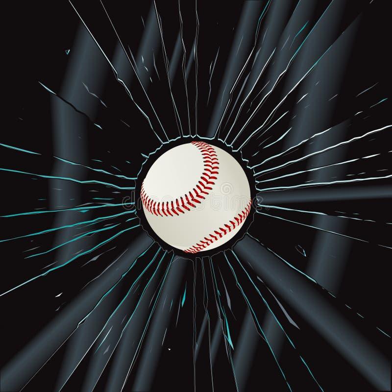 Base-ball cassé en verre 2 illustration stock