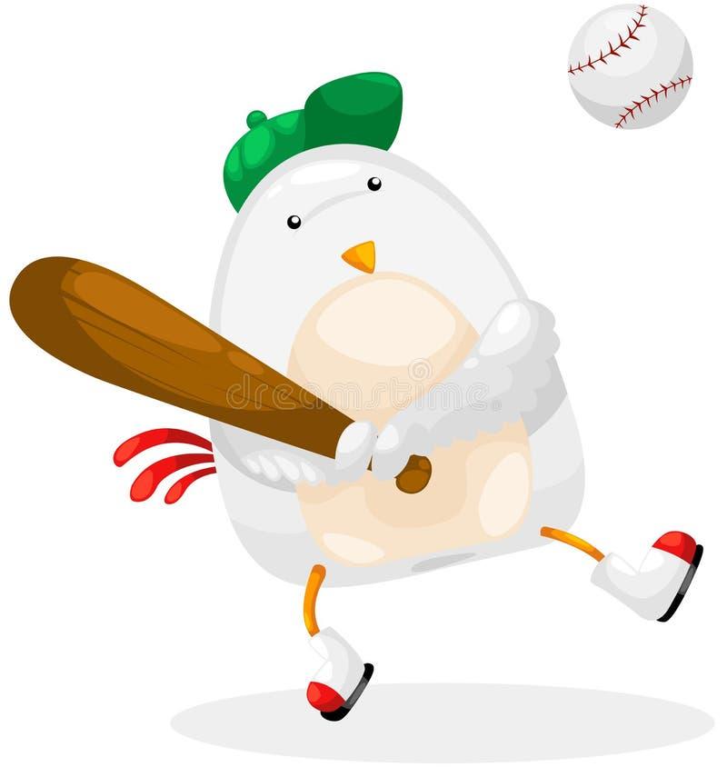 Base-ball de joueur de poulet illustration de vecteur
