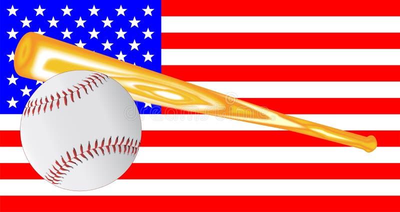 Base-ball et drapeau de batte illustration stock