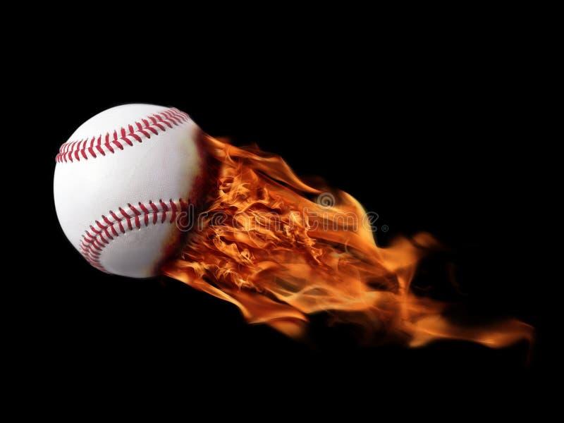 Base-ball sur l'incendie photo stock