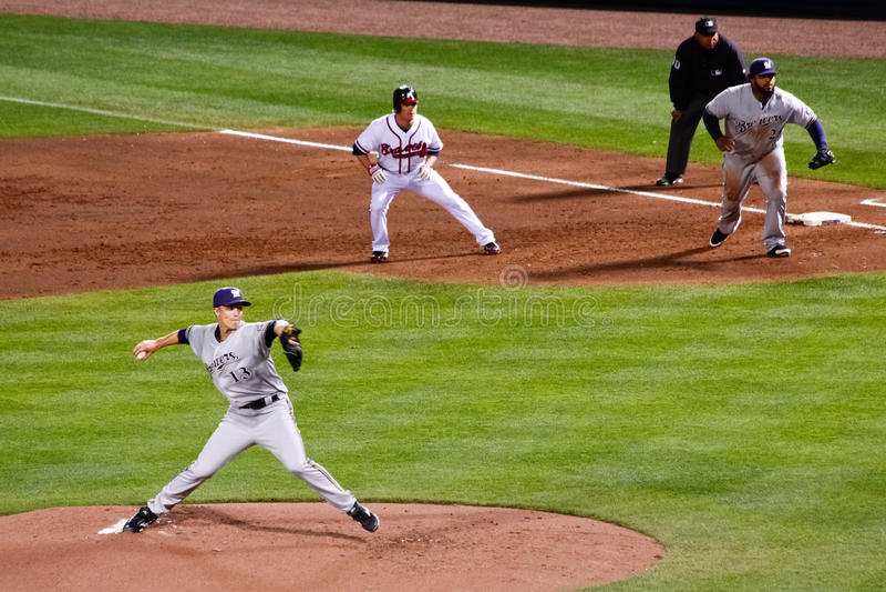 Base-ball - un bon nombre d'action ! image libre de droits