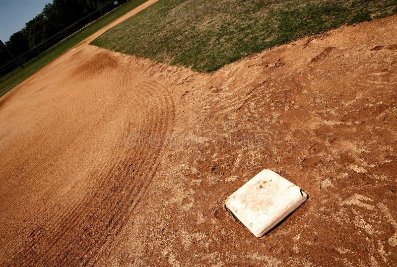 base baseballfält tredje för påse arkivfoton