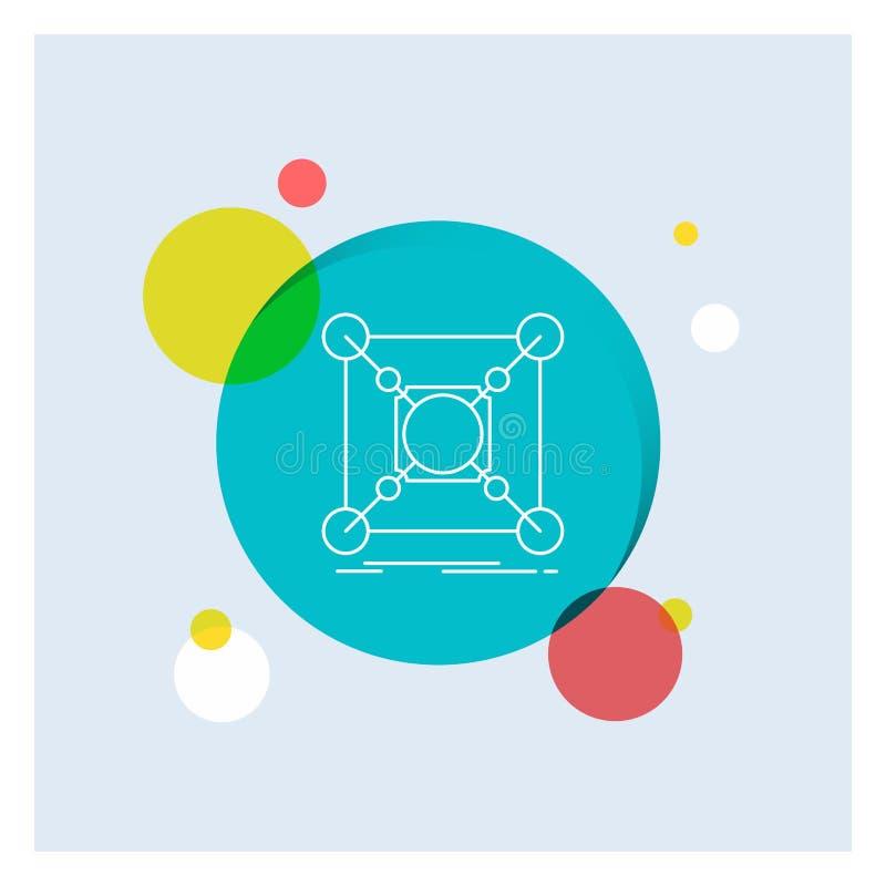 Base, centre, connexion, données, ligne blanche fond coloré de hub de cercle d'icône illustration libre de droits