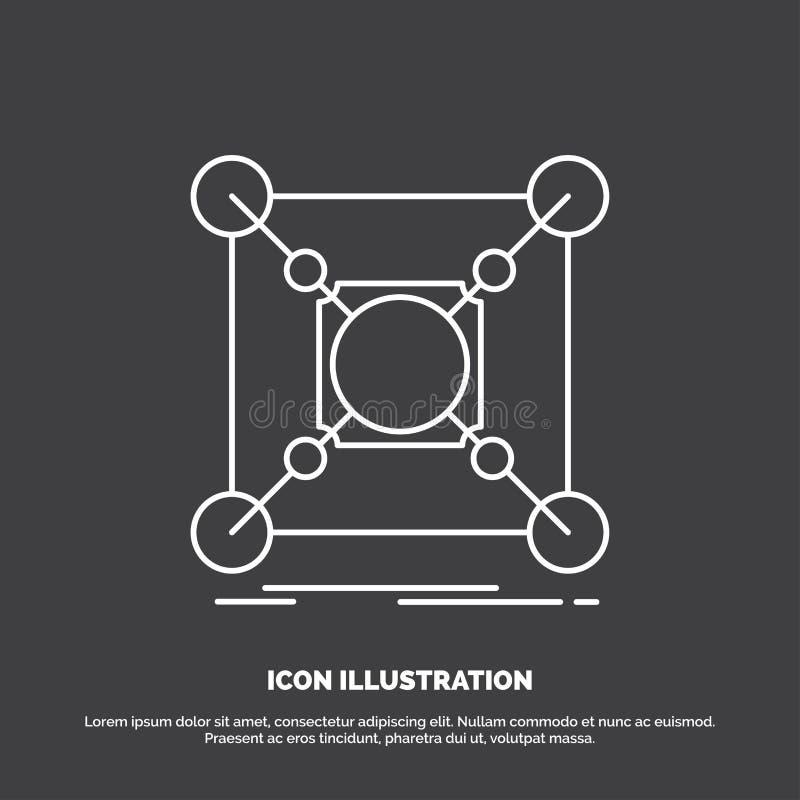 Base, centro, conexão, dados, ícone do cubo Linha s?mbolo do vetor para UI e UX, Web site ou aplica??o m?vel ilustração stock