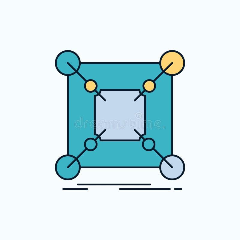 Base, centro, conexão, dados, ícone liso do cubo sinal e s?mbolos verdes e amarelos para o Web site e o appliation m?vel Vetor ilustração stock