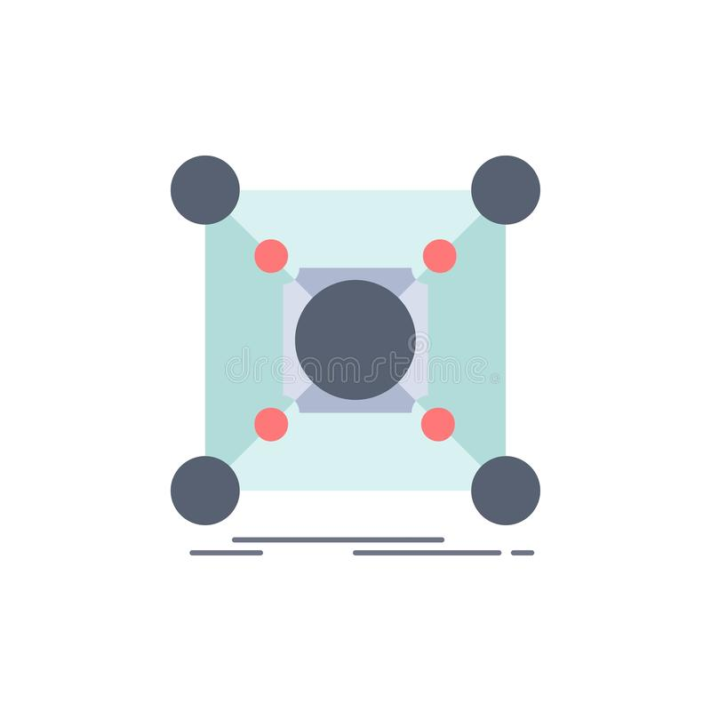 Base, centro, conexão, dados, vetor liso do ícone da cor do cubo ilustração do vetor