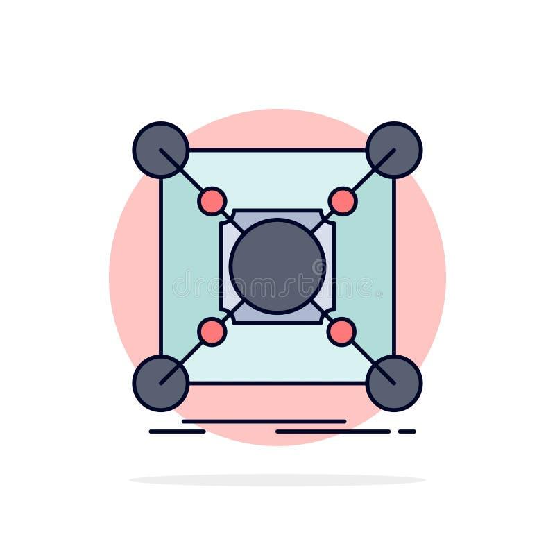 Base, centro, conexão, dados, vetor liso do ícone da cor do cubo ilustração royalty free