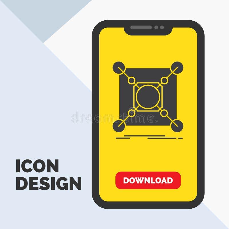 Base, centro, conexión, datos, icono del Glyph del eje en el móvil para la página de la transferencia directa Fondo amarillo ilustración del vector
