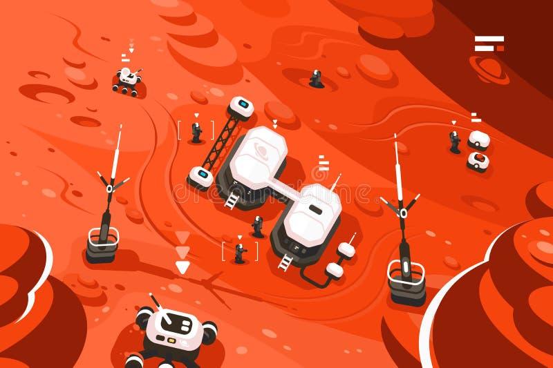 Base da órbita da estação do planeta de Marte ilustração do vetor