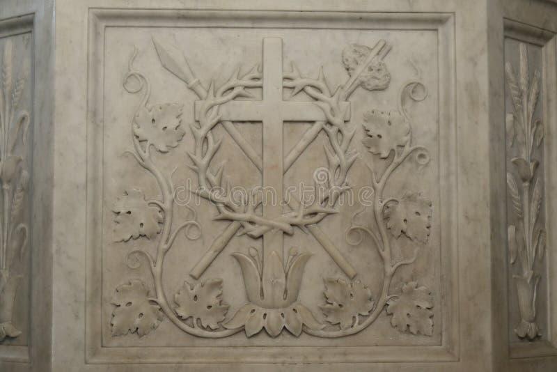 Base da escultura Jesus Christ em St John Lateran, Roma fotografia de stock royalty free