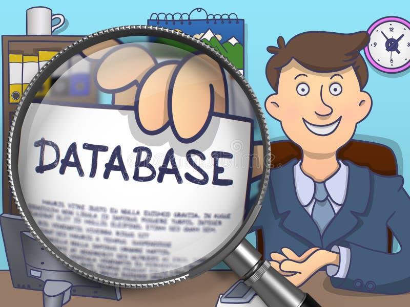 Base de dados através da lupa Projeto da garatuja ilustração do vetor