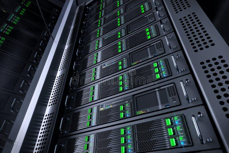 Base de dados da cremalheira do servidor Equipamento de telecomunicação ilustração do vetor