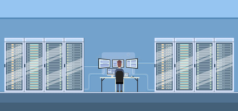 Base de dados de servidor técnico de trabalho do acolhimento da sala do centro de dados do homem ilustração stock