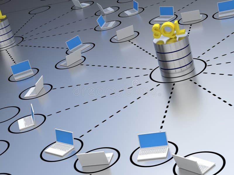 Base de dados do SQL dentro de uma rede ilustração stock