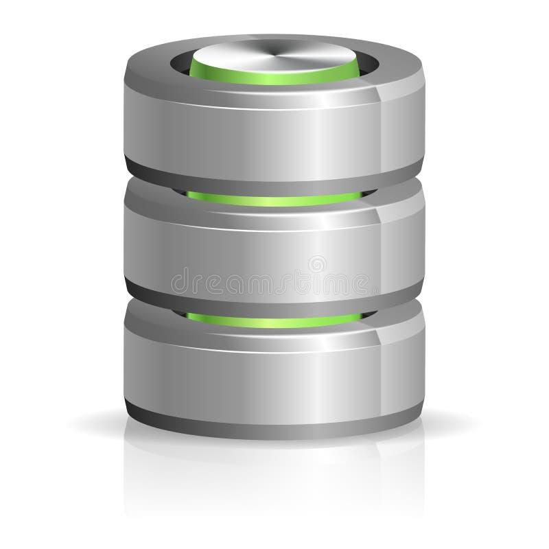 Base de dados e ícone do disco rígido ilustração do vetor