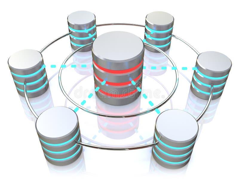 Base de dados e conceito dos trabalhos em rede: ícones conectados do disco rígido do metal ilustração stock