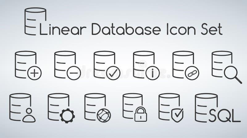 Base de dados linear, grupo móvel isolado servidor do ícone da Web lisa Ilustração do vetor isolada no fundo moderno ilustração stock