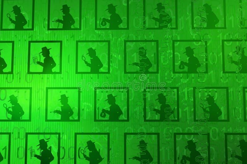 Base de dados virtual do espião ilustração do vetor