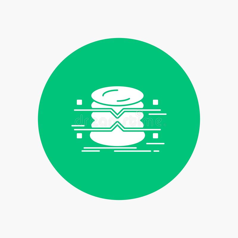 base de datos, datos, arquitectura, infographics, supervisando el icono blanco del Glyph en círculo Ejemplo del bot?n del vector stock de ilustración