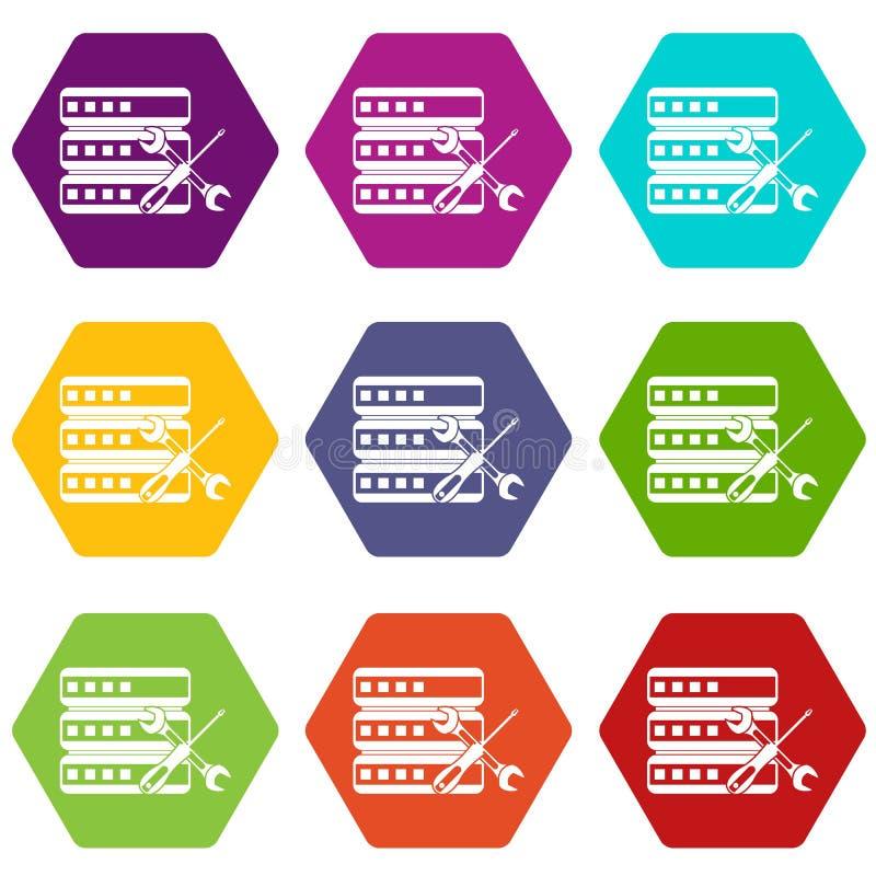 Download Base De Datos Con El Hexahedron Determinado Del Color Del Icono Del Destornillador Y De La Llave Inglesa Ilustración del Vector - Ilustración de caso, infraestructura: 100526053