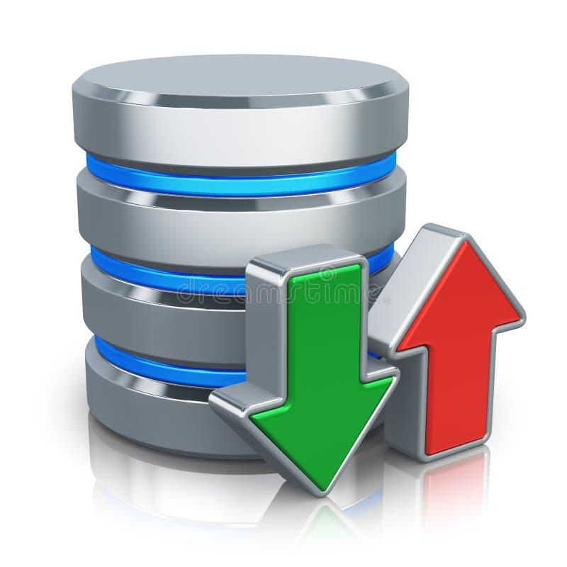 Base de datos de HDD y concepto de la salvaguardia stock de ilustración