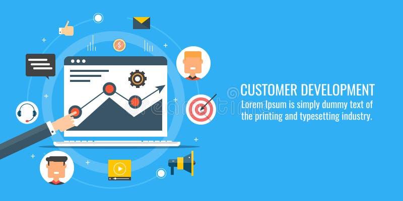 Base de datos del cliente, perfil, atracción, compromiso, desarrollo, concepto en línea del negocio Bandera plana del vector del  stock de ilustración