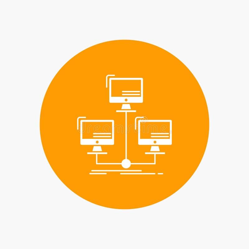 base de datos, distribuida, conexión, red, icono blanco del Glyph del ordenador en círculo Ejemplo del bot?n del vector libre illustration